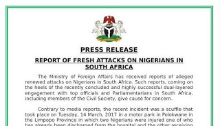 Nigerian Government reacts to reports of FRESH attacks on Nigerians in South African