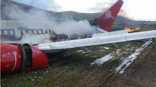 Video/Photos: Plane carrying 141 people burst into flames after landing in Peru
