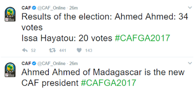 Breaking: Ahmed Ahmed beats Issa Hayatou to become the new CAF president