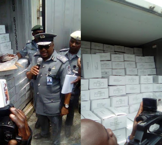 Tellforceblog: Photos: Nigeria Customs seized 40ft container of fish worth N22milloin for false declaration