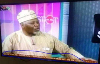 Tellforceblog: NTA mistakenly pronounce former Head of State, Yakubu Gowon, dead