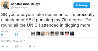 Tellforceblog: 'Na una go tire' - Dino Melaye to Sahara Reporters, on alleged University certificate scandal