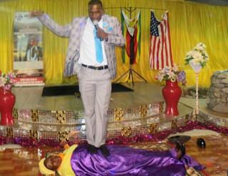 Tellforceblog: Photos: Zimbabwean prophet heals sick people while rolling drum on them