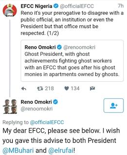 PHOTOS: Reno Omokri replies EFCC. FATHER OF ALL BOMBS