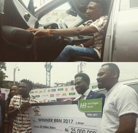 Winner of Big Brother Naija 2017 edition, Efe presented with SUV