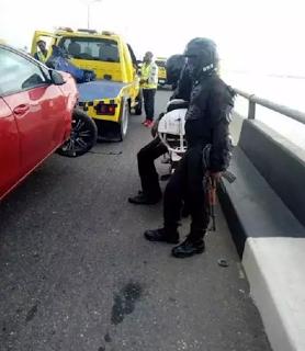 Photo: Man's leg fell into Lagoon after car accident on Third Mainland Bridge