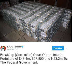 Court orders temporary forfeiture of $50 million cash found by EFCC to FG