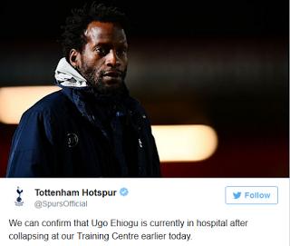 Tottenham FC coach, Ugo Ehiogu suffers heart attack during training