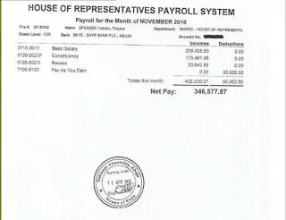 Photos: Speaker Dogara's Pay Slip says he earns N300,000 per month