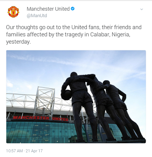 Manchester United mourns 30 football fans who died in Calabar