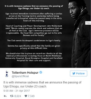 Breaking: Tottenham FC coach, Ugo Ehiogu dies