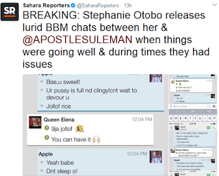Sahara Reporters releases alleged chat between Apostle Suleman and Srephanie Otobo