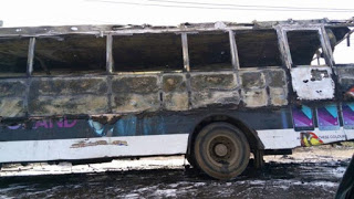 Photos: Bus carrying Deeper Life Worshiper completely burnt down