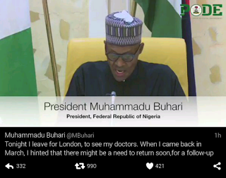 Photo: See what President Buhari wrote on about his journey to london