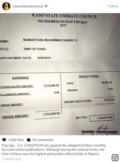 Photo: Emir Sanusi shares his payslip for April 2017