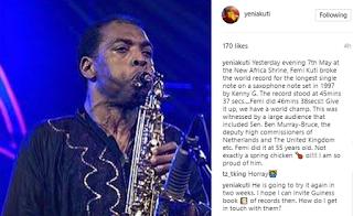 Video: Femi Kuti sets record of longest single note on a saxophone