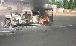 Photos: Mob sets Nigerian Customs patrol vehicle ablaze in Kaduna