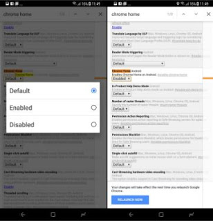 How to enable a bottom navigation bar in Google Chrome on Android