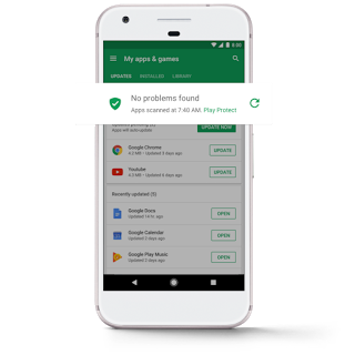 Google Play Protect: Secures your Android device and data against malware