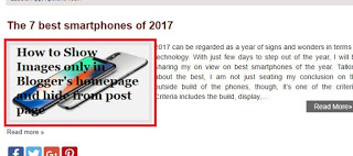 How to Show Images only in Blogger's homepage and hide from post page