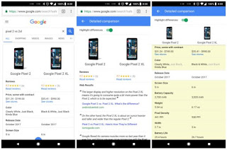 New Google Search feature allows compare device specifications