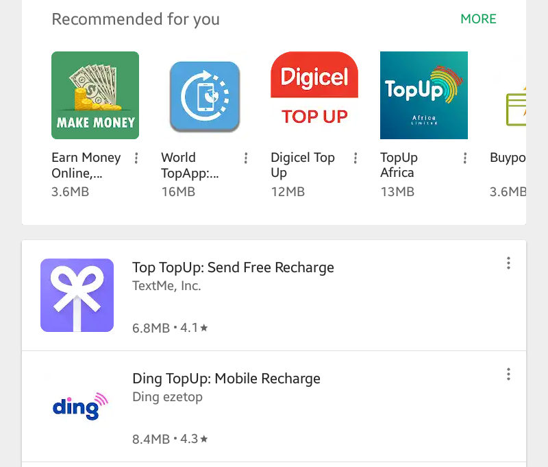 Top up apps