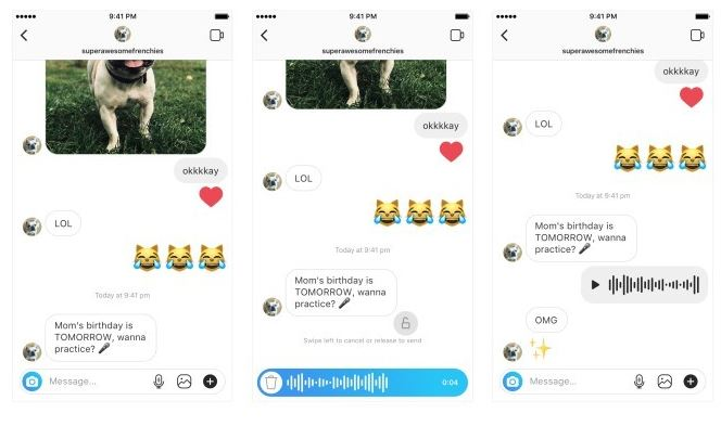 voice messages in Direct
