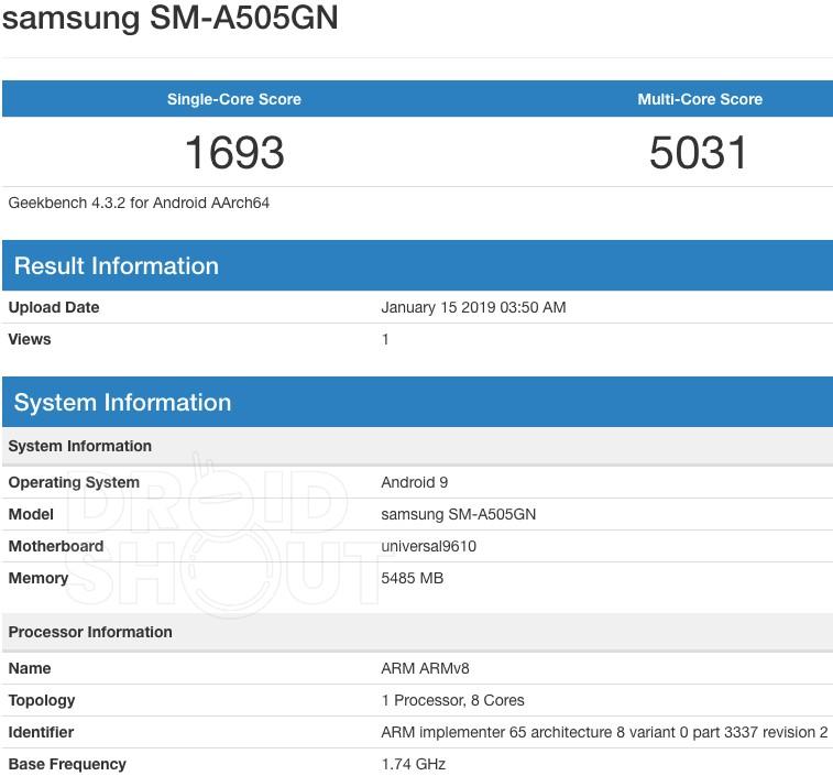 Galaxy A50 on Geekbench
