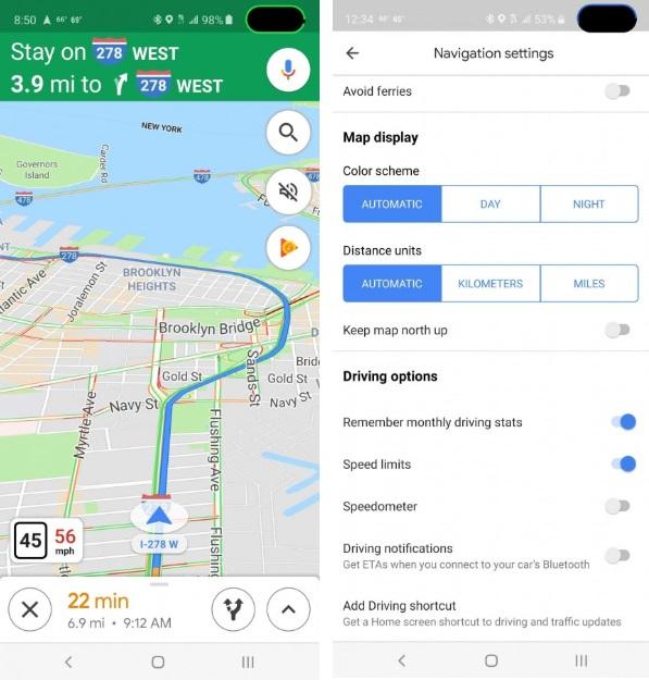 Google Maps get speedometer