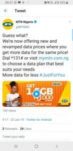 MTN New Data Plan For June 2019