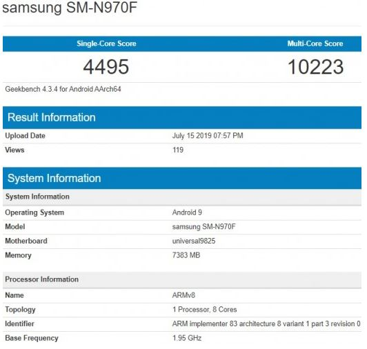 Samsung Galaxy Note10 passed through GeekBench