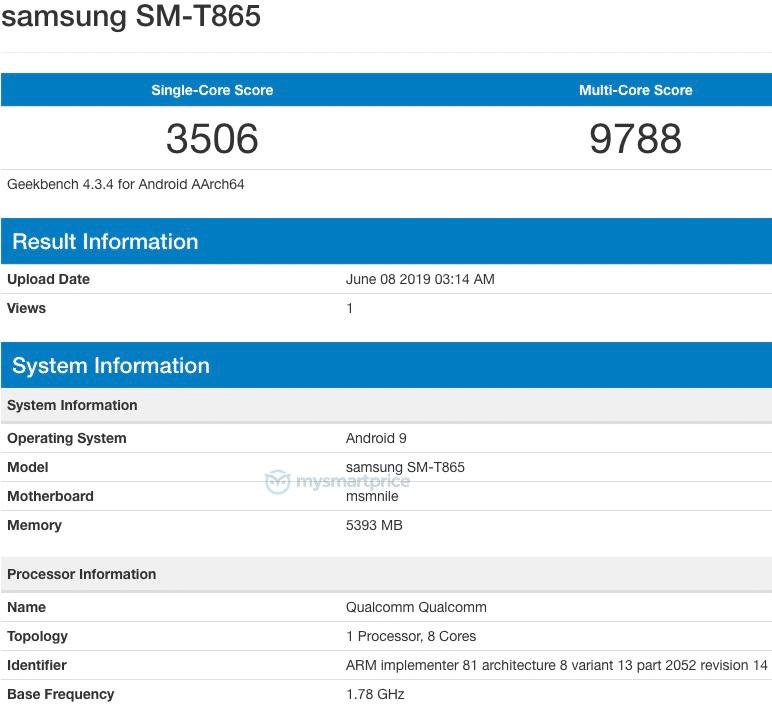 Samsung SM T865 on Geekbench