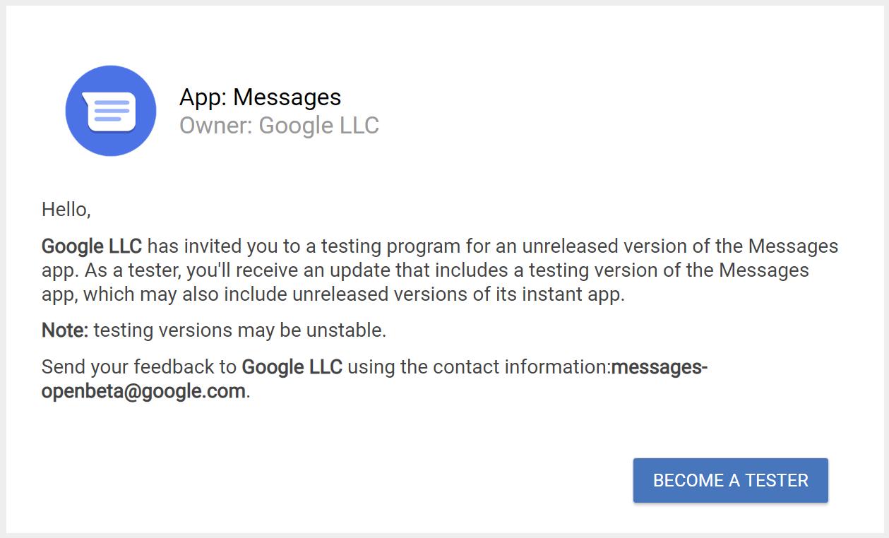 Google messages apppublc beta invite