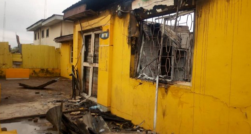 Burnt MTN Office in Ibadan