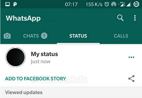 WhatsApp status sharing on facebook