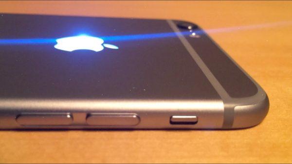 apple iphone render with illuminating apple logo