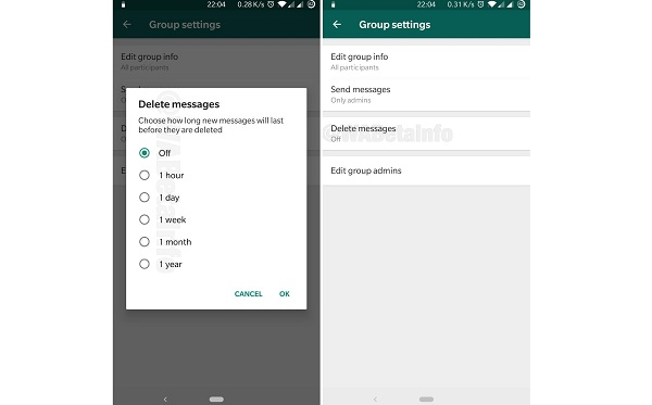 WhatsApp Latest Update – Group Auto Delete Messages