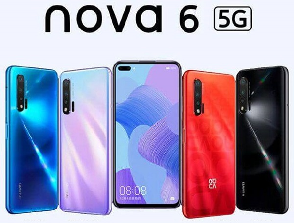 HUAWEI nova 6 5G in colours.