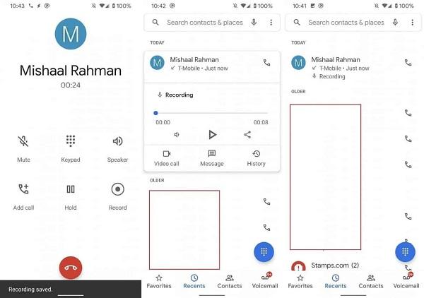 Call Recording On Google Phone App.