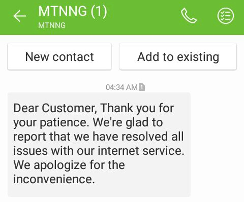 MTN Network issue