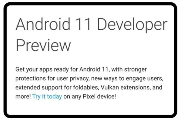 Android 11 developers page