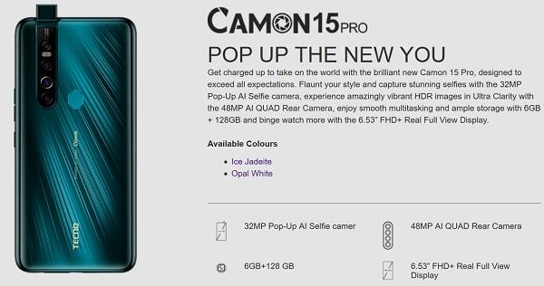 Tecno Camon 15 Pro Specs In Picture