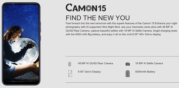 Tecno Camon 15 specs in Picture
