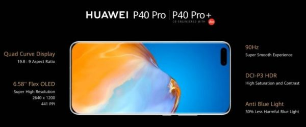 Huawei P40 Pro and P40 Pro Plus display