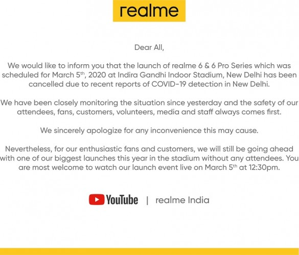 Realme cancels event