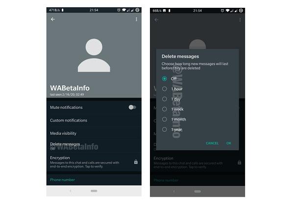 WhatsApp Self-Destruct Messages