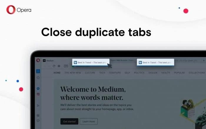 Close Duplicate Tab on Opera Browser