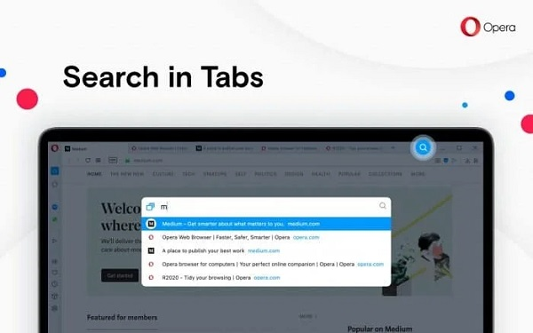 Search Tab on OPera Browser
