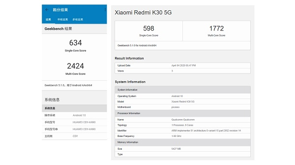 Snapdragon 765G vs Kirin 820 5G
