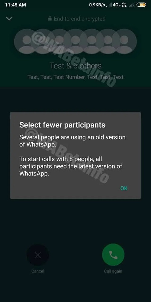 Limit Of Participants In WhatsApp Video Calls
